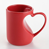 Wholesale ceramic red mug with loving heart design handle
