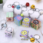 magic square design key ring key cheap chain with small bell