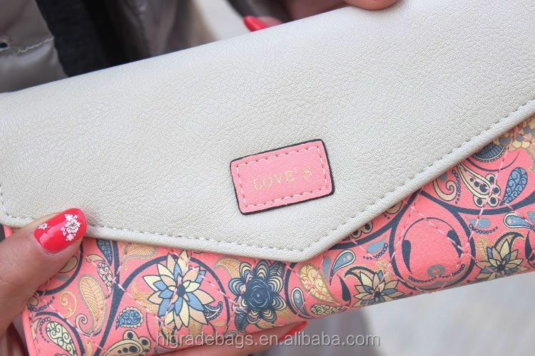 2015 Hot Fashion Women Wallets Flowers Printing PU Leather Long Wallets Portable Change Purse Delicate Casual Lady Cash Purse