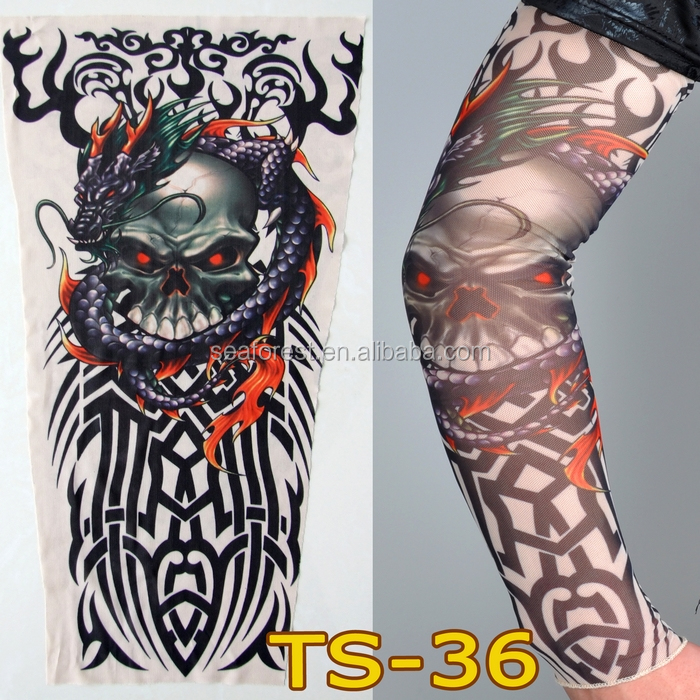 cheap wholesale promotional custom invisible mesh fake sports tattoo sleeves