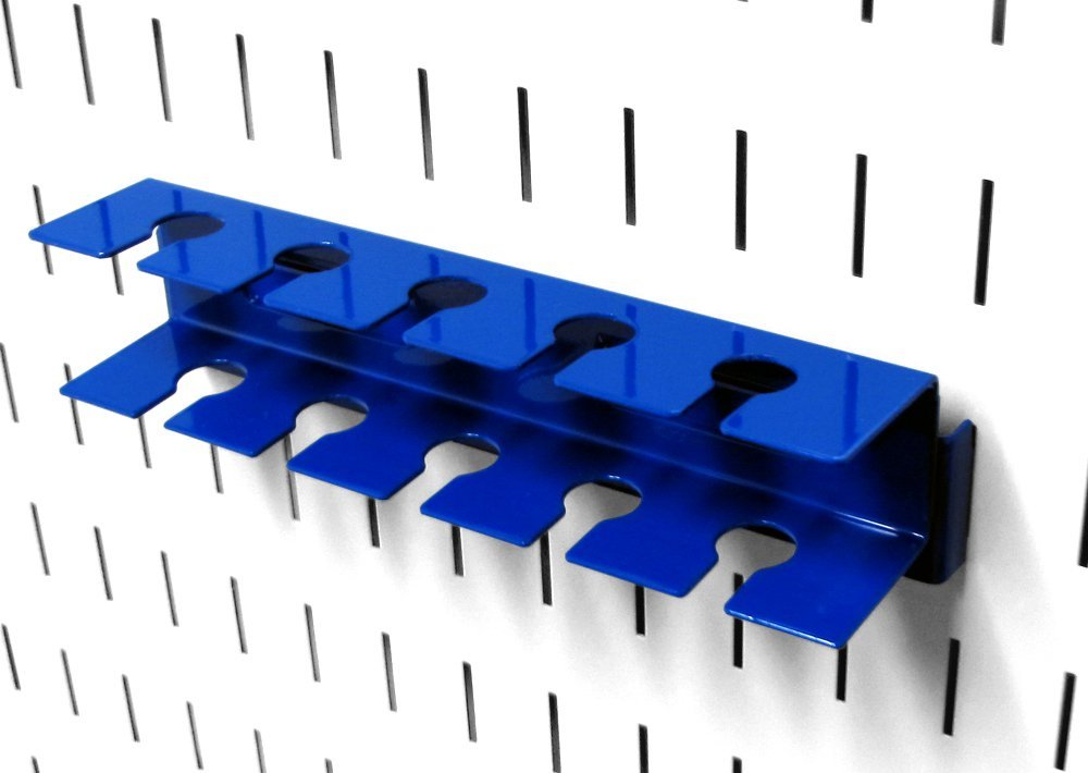 Wall Control ASM-SL-008 BU Pegboard Slotted Tool Holder Bracket Slotted Metal Accessory for Wall Control Pegboard Only, Blue