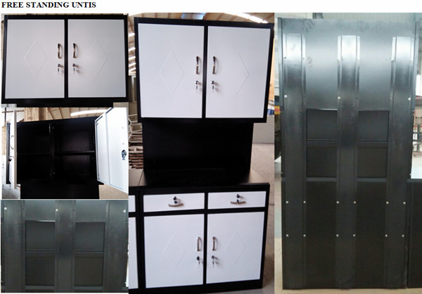 Cheap simple different color stainless steel kitchen for Cheap metal kitchen cabinets