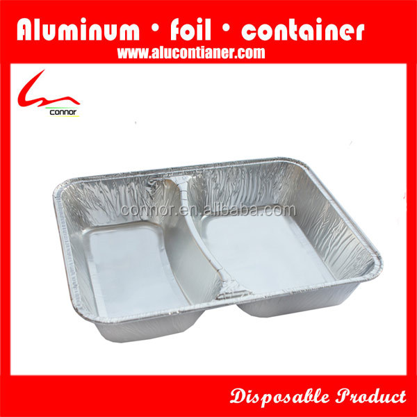 750ml Two Compartments Household Rectangular Aluminum Foil Container 8582 With Lid