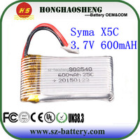HHS high quality rc jet planes lipo battery 3.7v 600mah 852540 battery for syma x5c battery