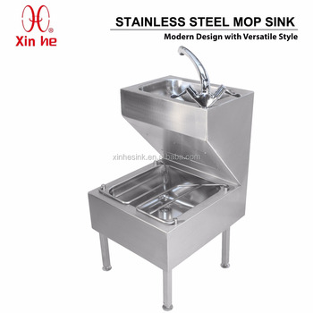 Public Sanitary Commercial Stainless Steel Mop Sink With Hand Wash ...