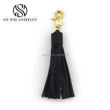 Black Leather Tassel With Gold Bag Hook and Date Line
