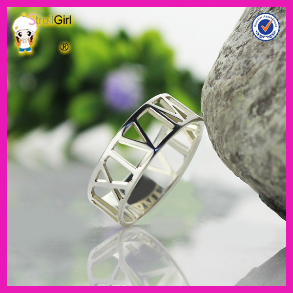 Roman numberal ring personalized wedding date ring custom 925 silver number ring
