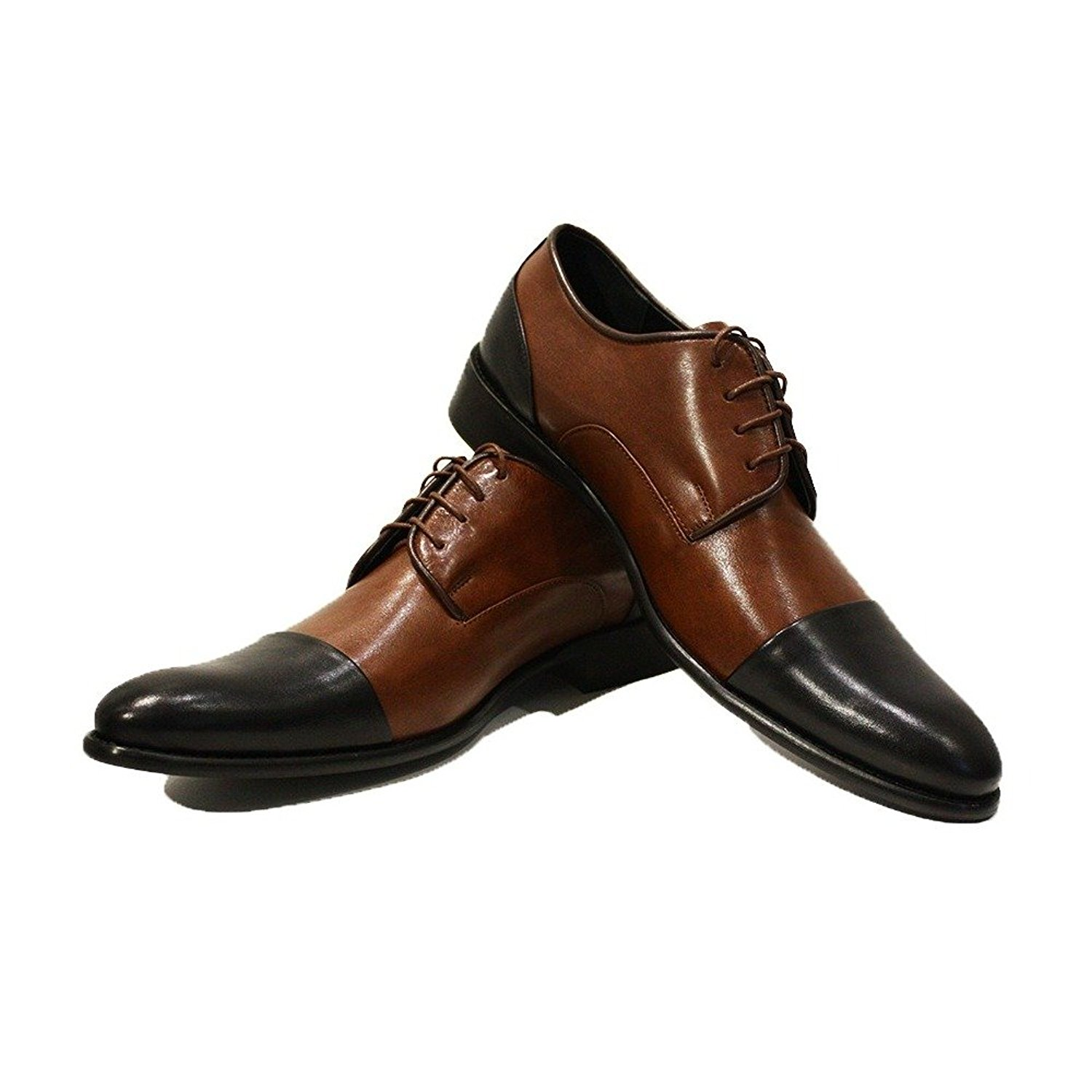 Modello Graziano - Handmade Italian Mens Brown Oxfords Dress Shoes - Cowhide Smooth Leather - Lace-up
