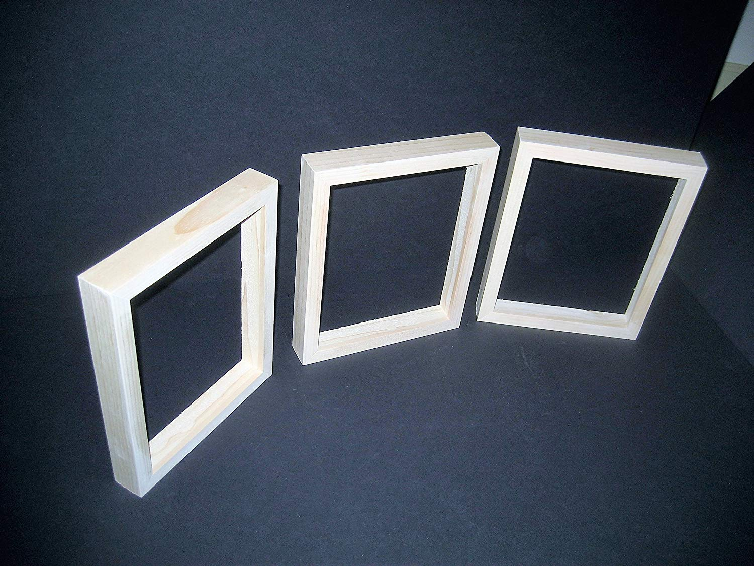 3 unfinished wood canvas picture frames with deep rabbets for canvases