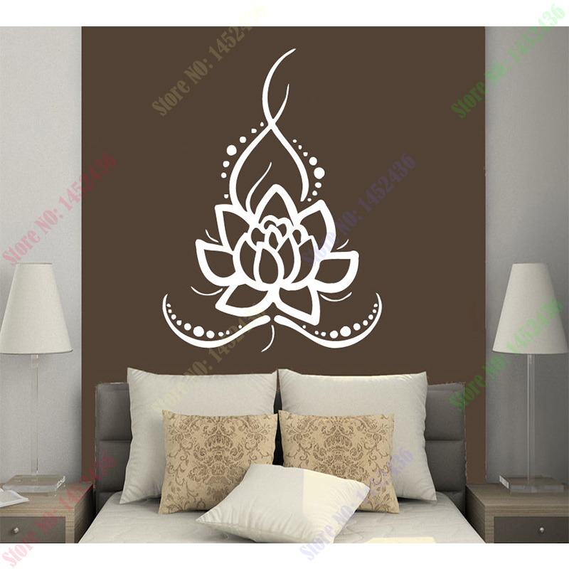 2016 New Wall Decals Yoga Lotus Indian Buddha Decal Vinyl Sticker Home Decor Size 56x77cm