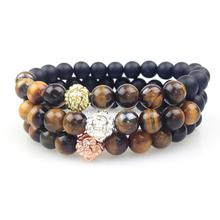 SN0356 Men Gold Rose Gold Silver Plated Lion Head Bead Bracelet Fashion Tiger Eye Matte Black Onyx Stone Bracelet Men
