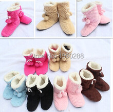 free shipping Women's indoor shoes cute plush 2 balls warm boots, floor socks, indoor slippers winter warm feet