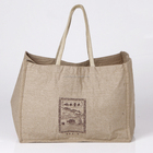 Cheap Reusable Custom Promotional Natural Color Laminated Shopping Bag Jute Tote Bag with Logo