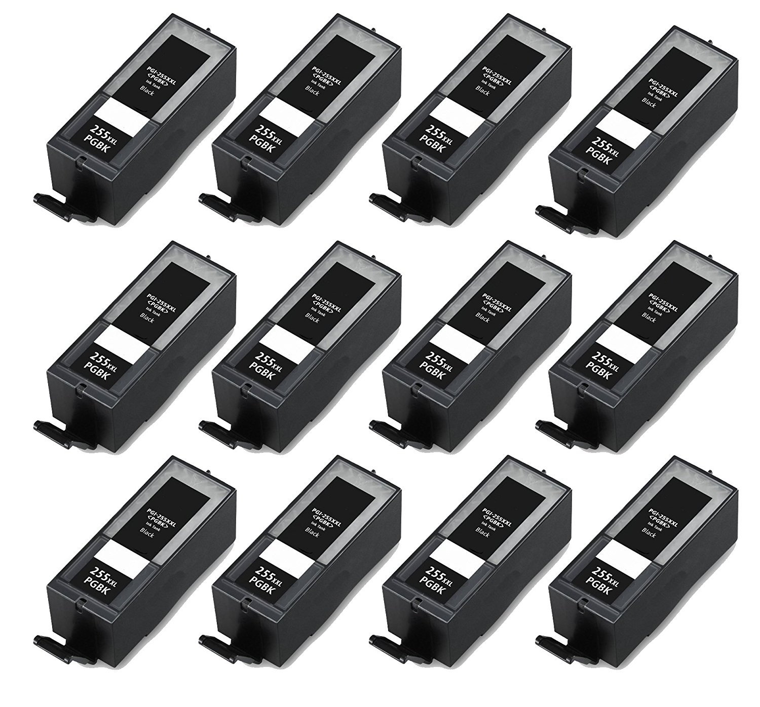 HI-VISION® 12 PK Compatible Canon PGI-255XXL 8050B001 Extra High Yield Black Ink Cartridges Replacement for PIXMA iX6820, MX722, MX922 Inkjet Office All-In-One printers