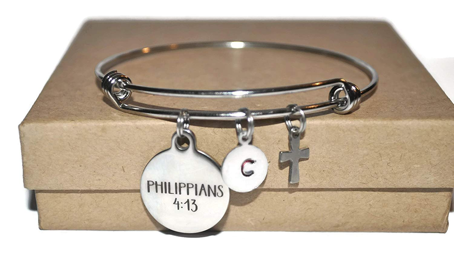 Philippians 4:13, stainless steel expandable bracelet, I can do all things through Christ scripture note card