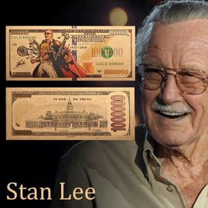 2019 New Products Gold 999999 Stan Lee One MillIon Dollars Color Coins Gold Foil Amecica Banknote For Souvenir