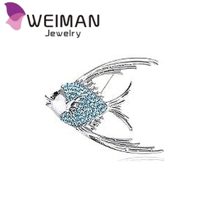 Genuine Crystal Rhinestone Tropical Angel Fish Brooch