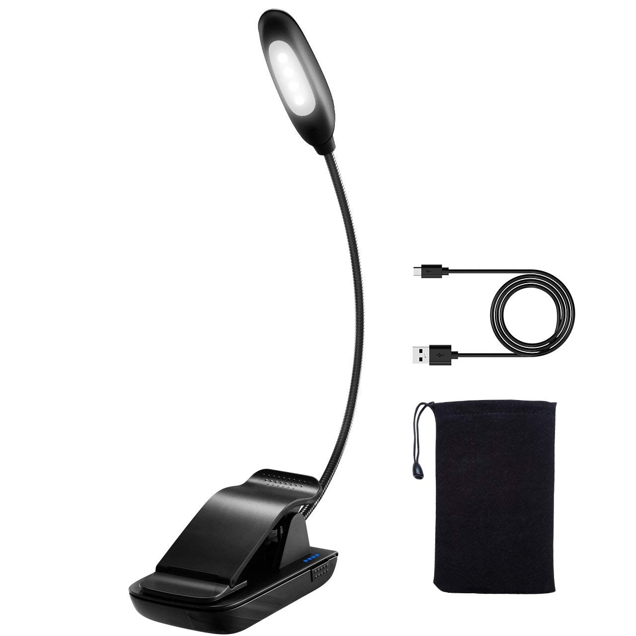 Clip on Reading Light, TopElek LED Reading Lamp, USB Rechargeable, Eye Protection Brightness, Mini Book Light (Cool White) with Portable Bag for Bed Reading, Kindle, Computer, Travel