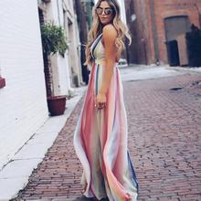 2019 Nieuwe Collectie Ropa De Mujer Bohemian Designer Rainbow <span class=keywords><strong>Mode</strong></span> Vrouwen Jurken Zomer Strand Kleding