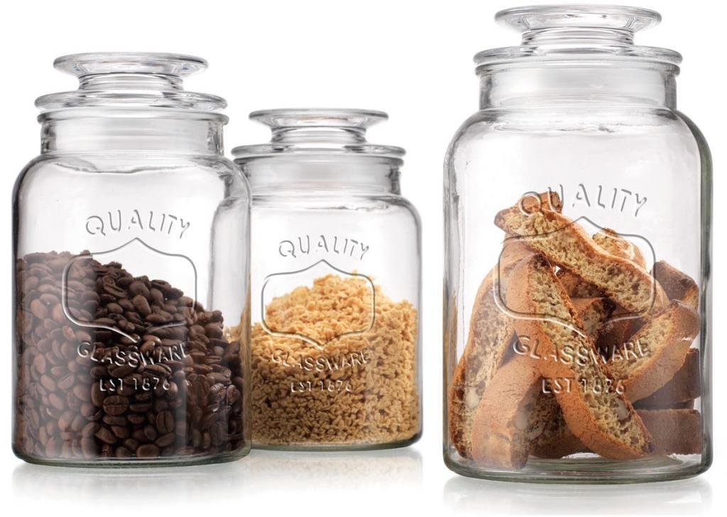 Get Quotations Set Of 3 Clear Gl Canister Jars With Lids For Kitchen Or Bathroom Food