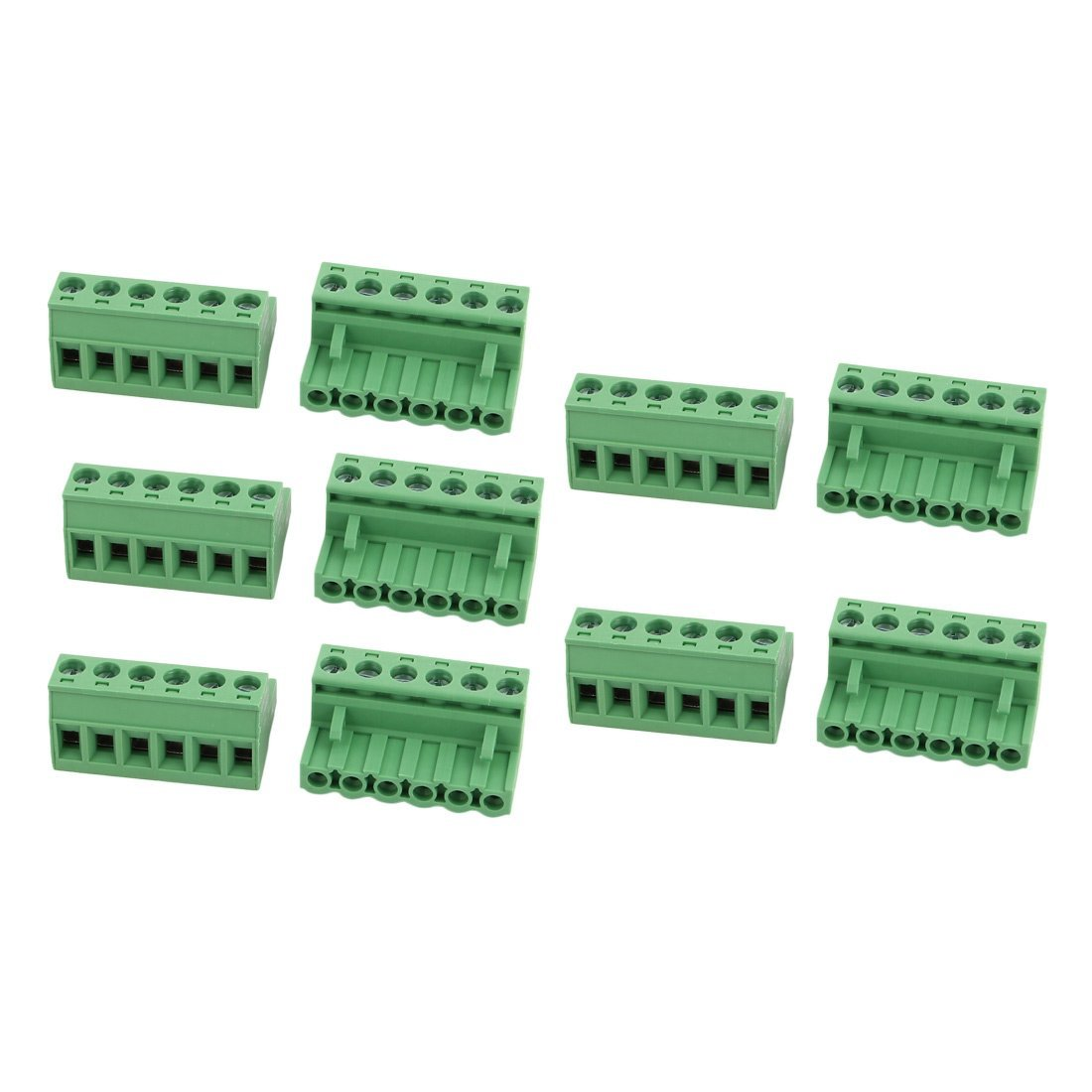 uxcell 10Pcs AC 300V 15A 5.08mm Pitch 6 Positions PCB Terminal Block Wire Connection