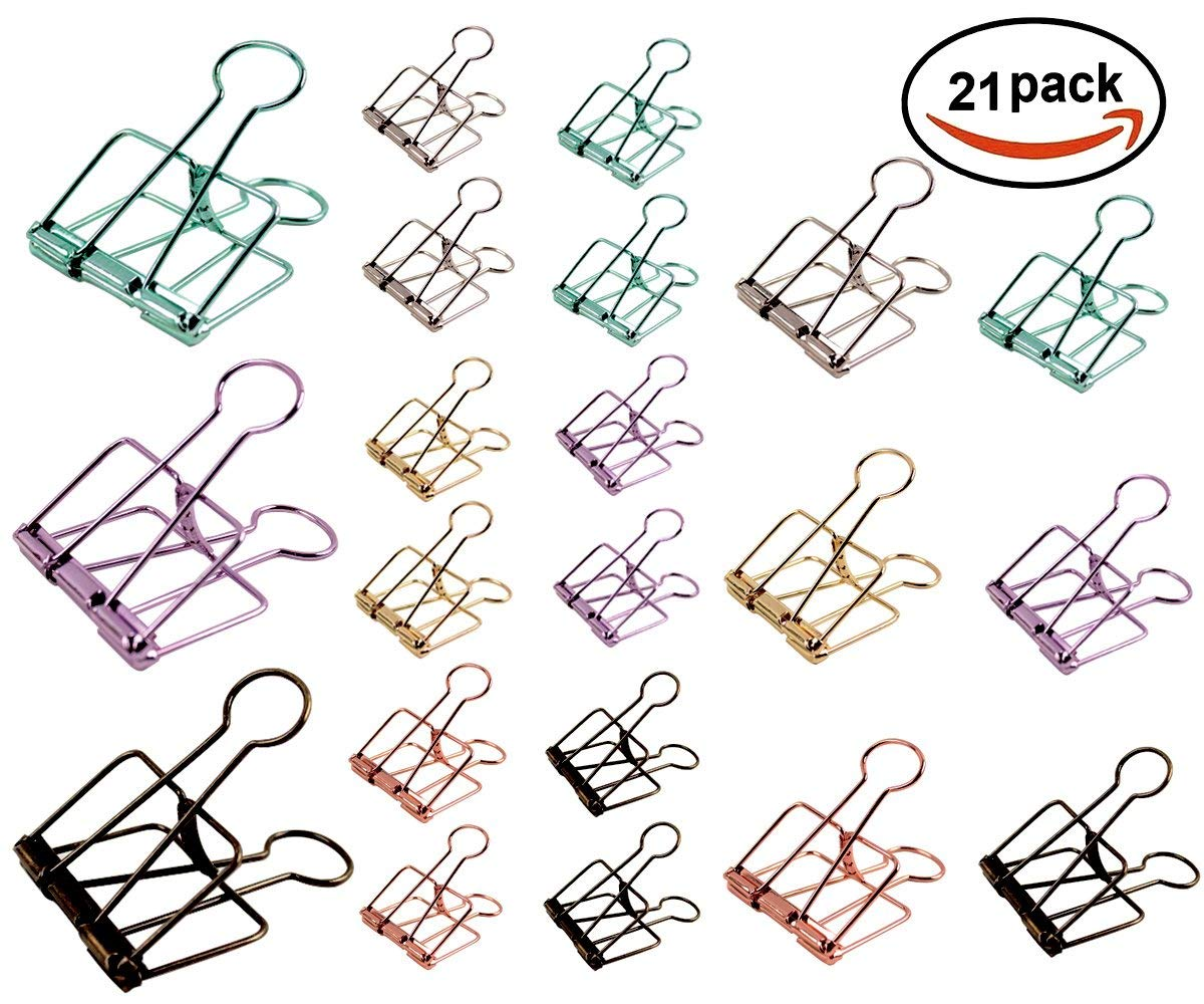 Binder Clips, Metal Wire Binder Clips, Assorted Sizes, Colorful Hollow Out Paper Organizer, 21-Pack
