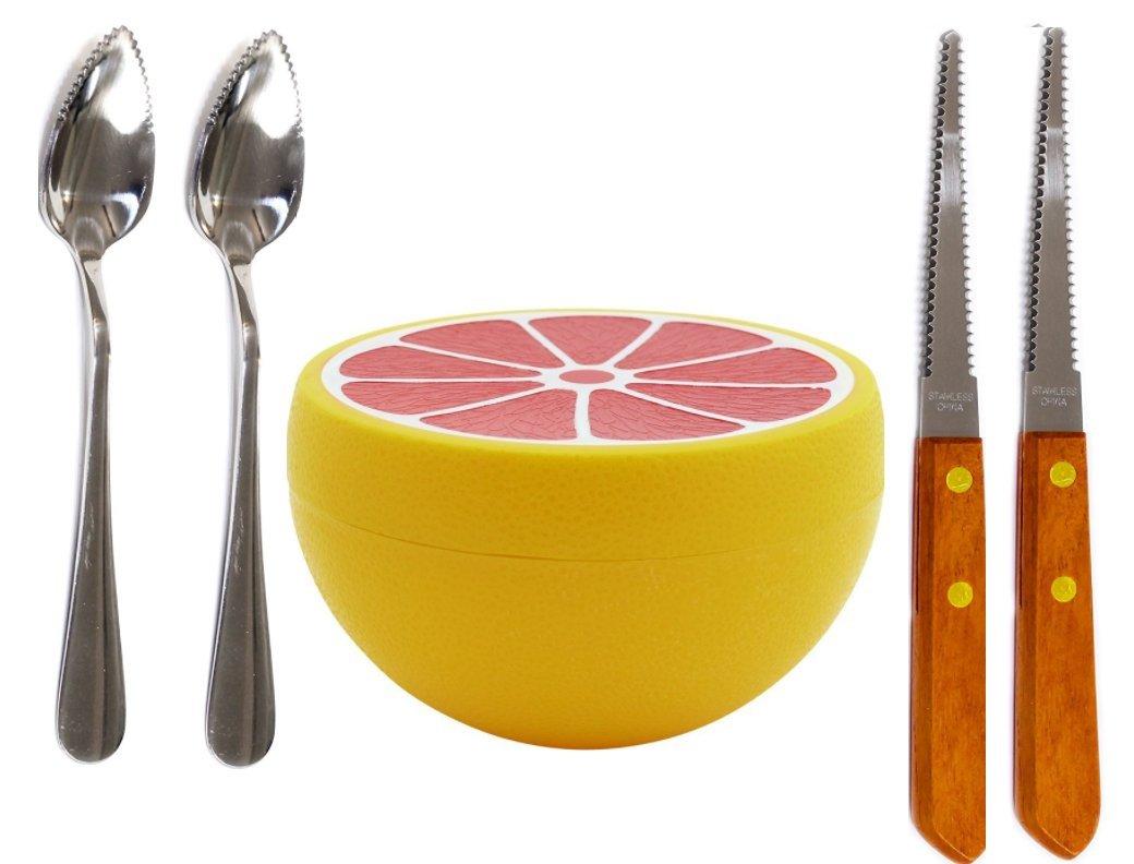 Budays Mart GRAPEFRUIT SET- Two Grapefruit spoons (2), Grapefruit Serrated edge Knife(2), and Grapefruit Saver