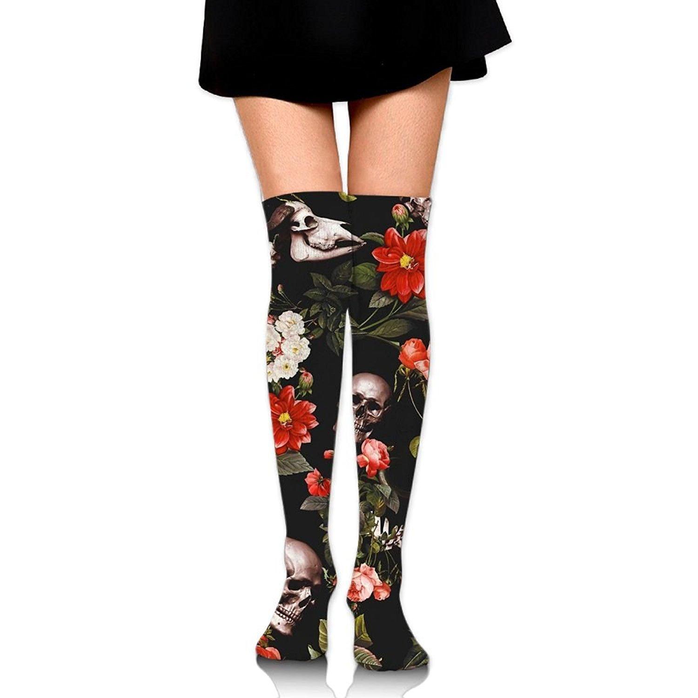 Zaqxsw Skull Flower Women Graphic Thigh High Socks Long Socks For Ladies