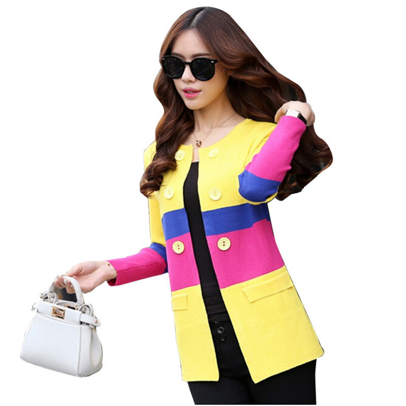 63f8680bd3 Get Quotations · Brand 2015 New Atumn Hit Color Cardigan Women Sweater  O-Neck Cardigan Feminino Double Breasted