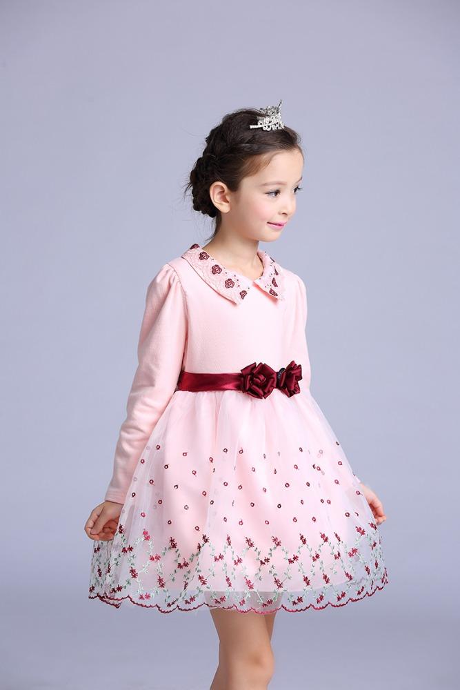 Retail Rosa princesa flor bordado Girls Pageant vestidos de manga ...