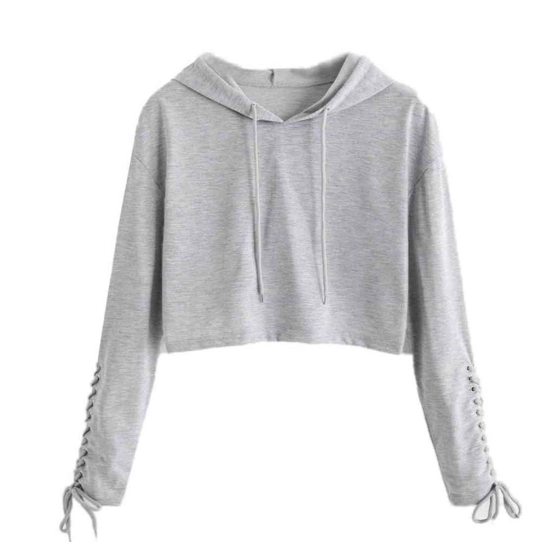 44ea7d23350 Get Quotations · Women Hoodie Sweatshirt Crop Top Sports Pullover Shirt  Casual Long Sleeve Blouse