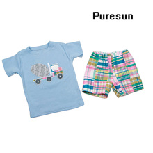 100% cotton baby boys appliqued fancy T shirt and shorts summer clothes set boutique toddler boys cute outfits