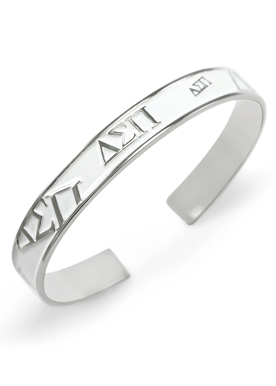 Delta Sigma Pi Fraternity Bangle Cuff Bracelet (White)