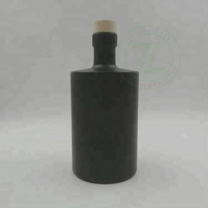 Super Quality 500ml Black Glass Sloe Gin Bottle With Wood Cork
