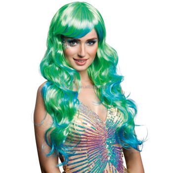 70cm Long Wig Aqua Blue Green Lagoona Mermaid Monster Siren Fancy Dress Wavy W17101