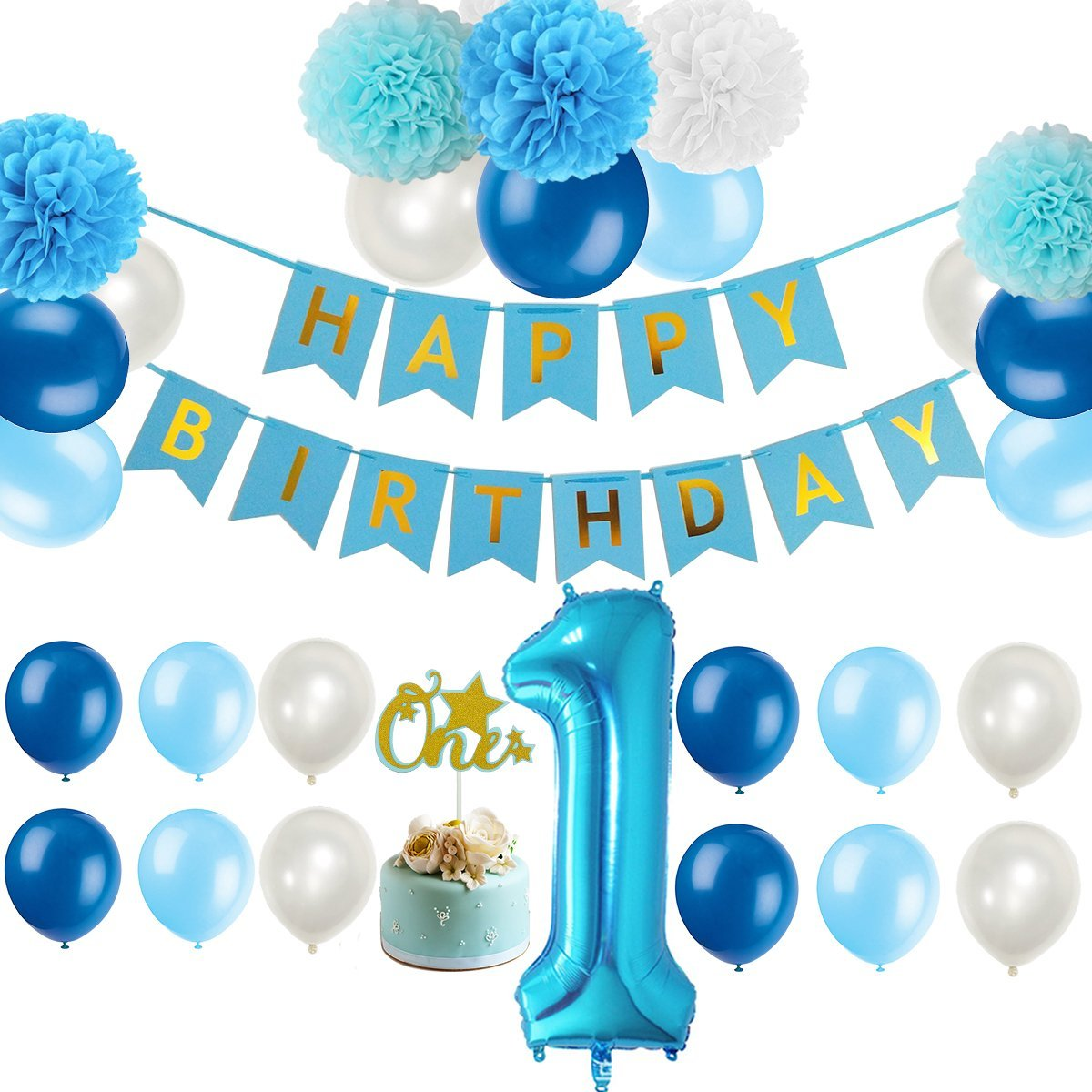 Get Quotations First 1st Birthday Boy Decorations Kit