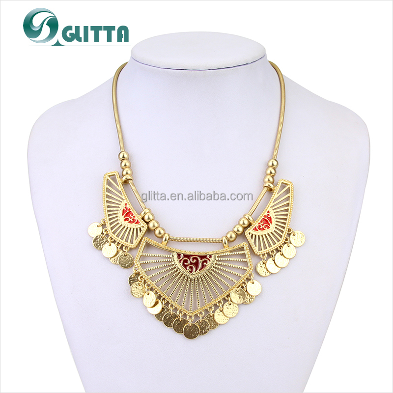 2015 Wholesale Glitta Luxury Fashion India gold necklace Collar Vintage Statement Necklace For Women GL15365