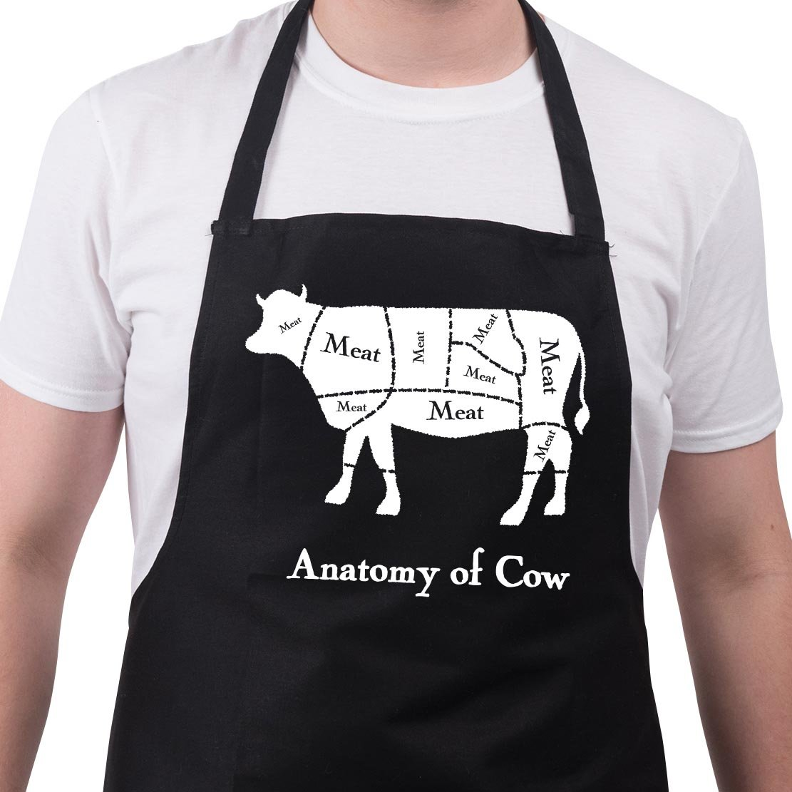 BBQ Apron Funny Aprons For Men Anatomy of Cow Funny Grill Gift
