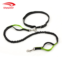 Nylon Dual-Handle Bungee Reflective Hands Free Dog Leash for Running, Walking, Hiking