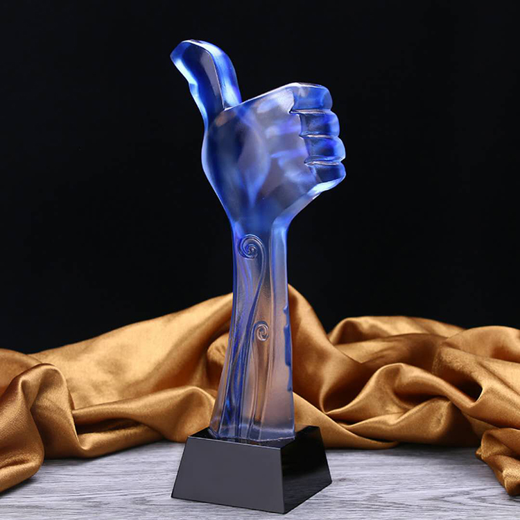 Custom blue crystal big thumb souvenir craft award trophy figure