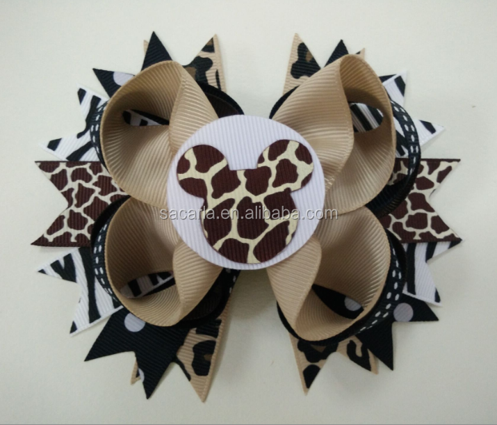 Minni Mouse Safari hair bows Zebra Deluxe Bowtique hair bows Cheetah Giraffe Zebra bows