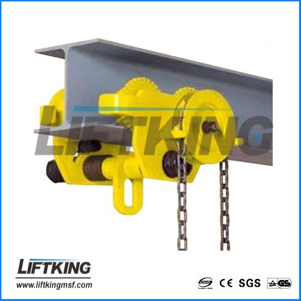 geared trolley crane, geared trolley for chain hoist