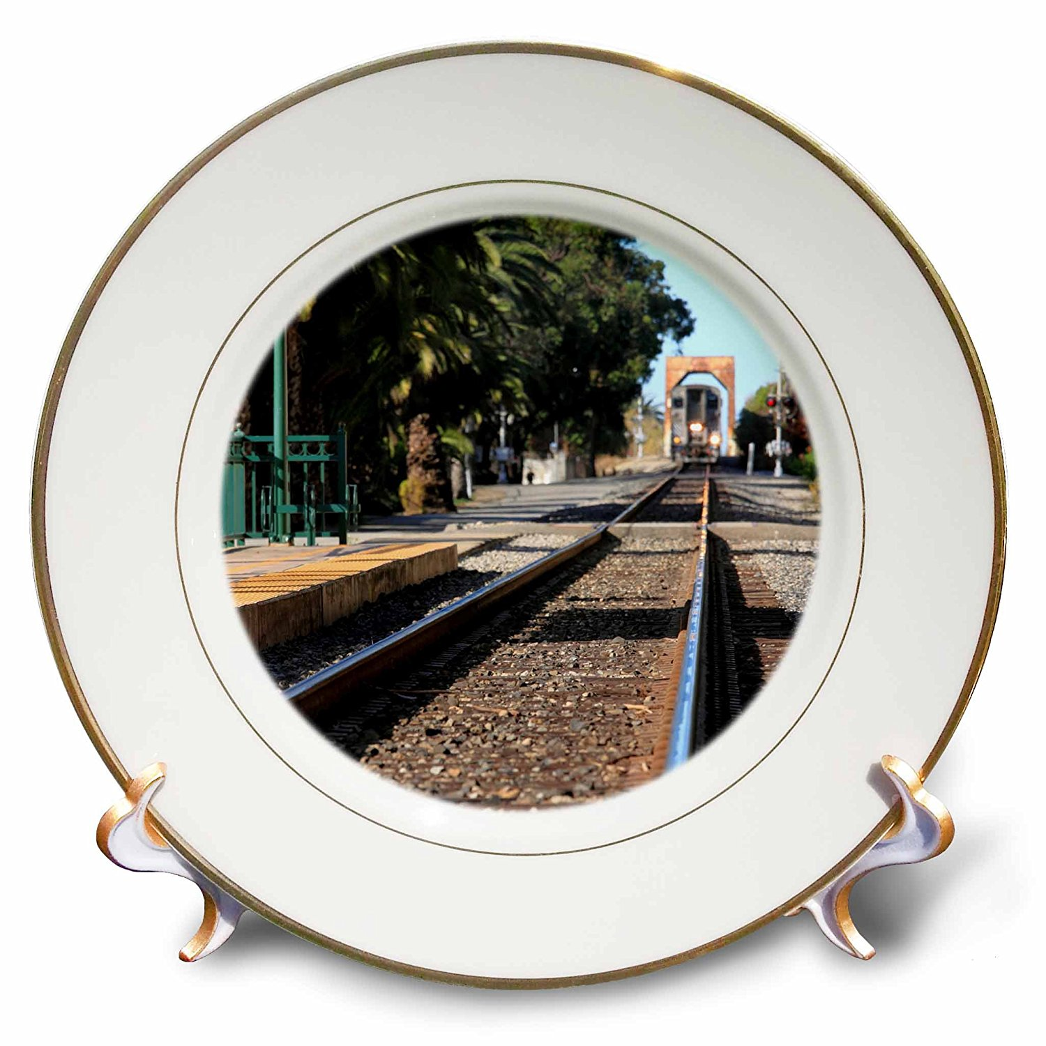 Henrik Lehnerer Designs - Transportation - Ventura Train Station California with a view of the tracks and train. - 8 inch Porcelain Plate (cp_240389_1)