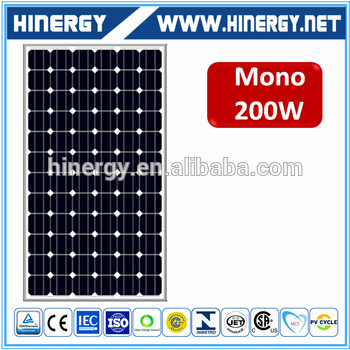 200w mono solar panels 72 pieces of 125*125 mono cells 200w 1316*992*45mm panels for wholesales