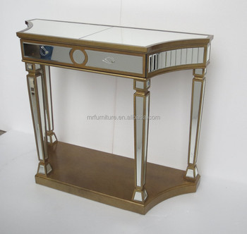 Living Room Mirrored Hall Table With A Shelf