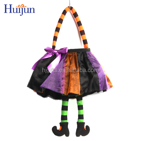 Factory wholesale satin funny festive children gift witch hallowing bag