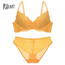 8d4be21a9c Roseheart Women Fashion Gray Yellow Lace Bow Bra Set Straps Bralette Cotton  Panties Wireless Underwear Sexy