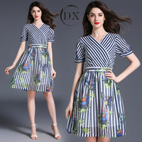 Fashional V-neck parrot printed stitching striped dress short-sleeved dress
