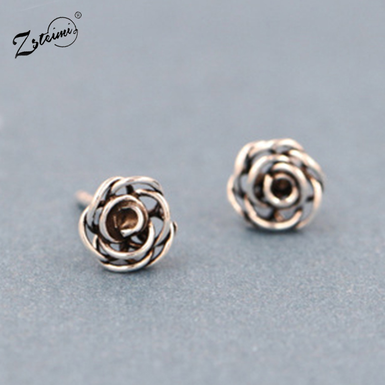 Zsteimi Jewelry Gift New Model Designs Little <strong>Fashion</strong> Rose Flower 925 Sterling Silver Anti Allergy Stud Earrings For Women