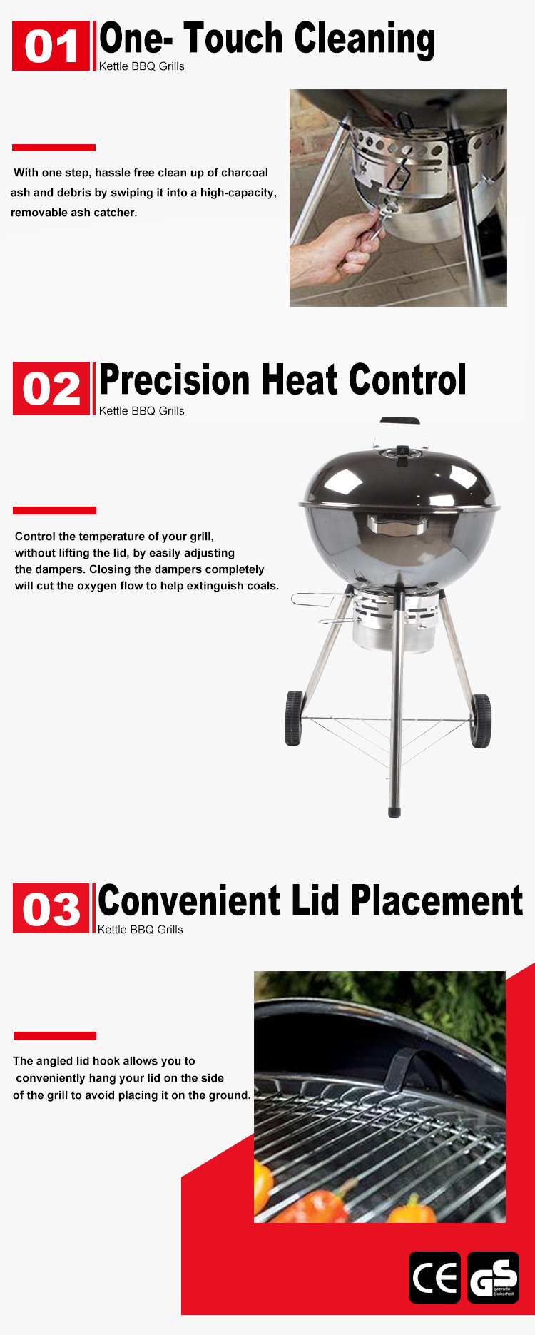 Chrome Plated Charcoal Apple Barbecue Grills Round Kettle Bbq Grill